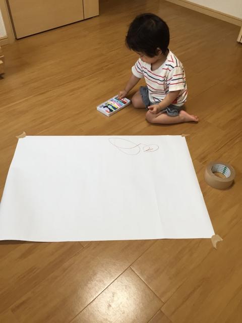 赤ちゃんのお絵かき前の準備